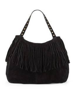 Britni Studded Fringe Hobo Bag, Black   Raj