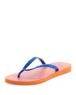 Slim Lace Print Flip Flop, Neon Orange   Havaianas   Orange (41/42)