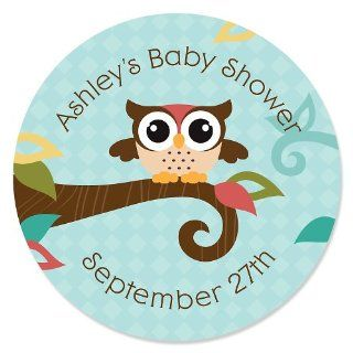 Owl   Look Whooo's Having A Baby   24 Round Personalized Baby Shower Sticker Labels: Toys & Games