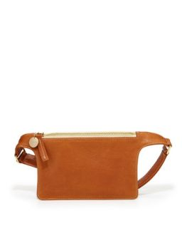 Pebbled Leather Petite Fanny Pack, Tan   Clare Vivier   Tan