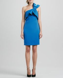 Womens One Shoulder Dress With Bow   Halston Heritage   Sapphire navy (8)