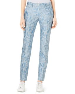 Womens Samantha Paisley Print Slim Pants   Michael Kors   Ice/White (6)