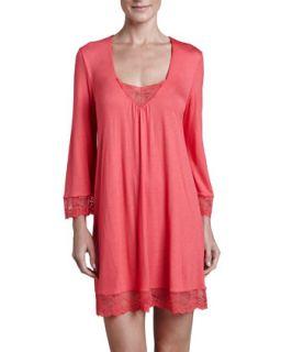 Womens Fiona 3/4 Sleeve Tunic Nightshirt, Guava   Eberjey   Guava (MEDIUM)