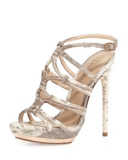 Farrow Metallic Lizard Embossed Strappy Sandal, Mushroom   BCBGMAXAZRIA