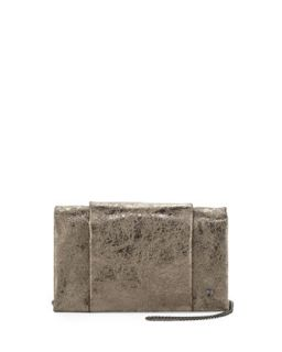 Crinkled Metallic Crossbody Bag, Crushed Gold   Halston Heritage