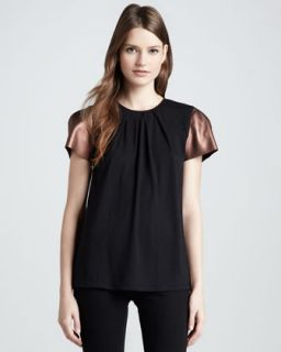Womens Ilana Faux Leather Sleeve Top   Erin Fetherston   Bronze/Black (4)