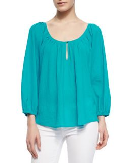 Womens Khan Long Sleeve Keyhole Top   Joie   Peacock (MEDIUM)