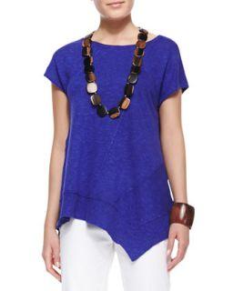 Cap Sleeve Linen Asymmetric Top, Blue Violet, Womens   Eileen Fisher   Blue