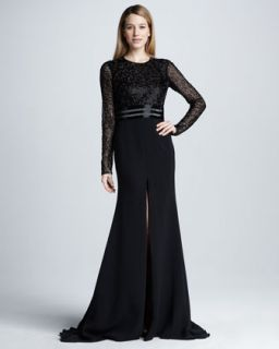 Womens Long Sleeve Beaded Slit Gown   Naeem Khan   Black/Black (6)