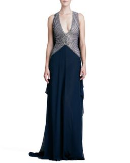 Womens Deep V Neck Beaded Bodice Gown   Naeem Khan   Crystal/Navy (8)