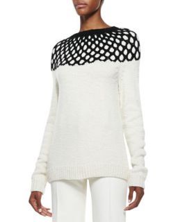 Womens Long Sleeve Net Top Knit Sweater   Derek Lam   Ivory (LARGE)