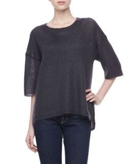 Womens Mohair Half Sleeve Sweater, Graphite   Halston Heritage   Graphite