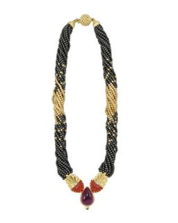 18k Gold & Hematite Beaded Necklace, 16L   Lagos   Gold (18k )