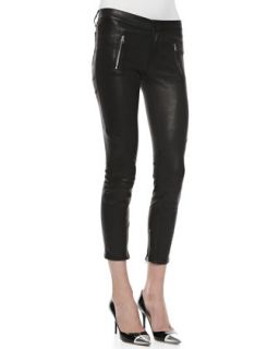 Womens Julia Leather Biker Pants, Noir   J Brand Jeans   Noir (29)