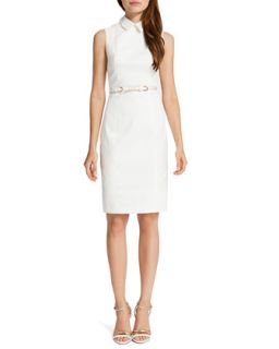 Womens Chrissy Sleeveless Belted Shirtdress, Light Cream   Cynthia Steffe   Lt.