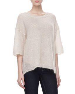 Womens Mohair Half Sleeve Sweater, Pumice   Halston Heritage   Pumice (LARGE)