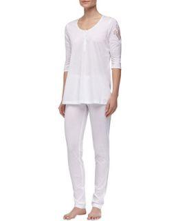 Womens Maya Floral Accented Pajamas, White   La Perla   White (SMALL)