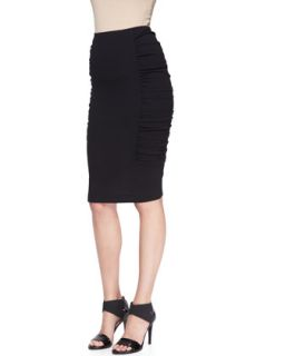 Womens Pull On Crushed Pencil Skirt   Donna Karan   Black (LARGE)