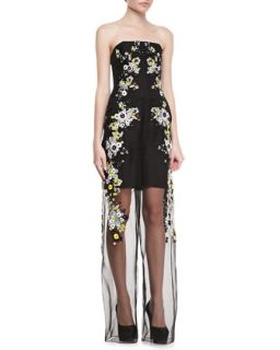 Womens Strapless Una Jumpsuit with Sheer Leg   Erdem   Black/Multi (12UK/8US)