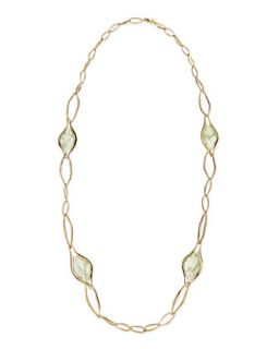 Golden Link Necklace with Aqua Green Crackle Glass, 42   Alexis Bittar   Green