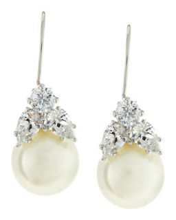 10mm Simulated Pearl & Cubic Zirconia Drop Earrings   Fantasia by DeSerio