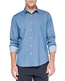 Mens Zack PS Ryerson Chambray Shirt, Blue   Theory   Blue (MEDIUM)