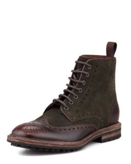 Mens Lunno Suede & Leather Wing Tip Ankle Boot, Green/Brown   Boss Hugo Boss