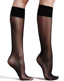 Womens Premier Sheer Basic Knee High Socks, Black   Commando   Black (ONE SIZE)