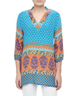 Womens Chandra Long Printed Silk Tunic   Tolani   Turq orange (M/8)