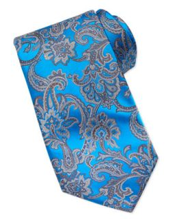 Mens Paisley Silk Tie, Blue   Stefano Ricci   Blue