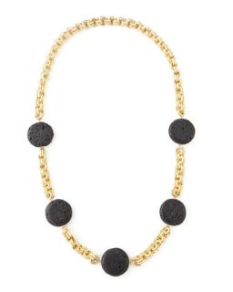 Lava Coin Necklace, Black   Devon Leigh   Black