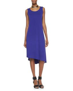 Sleeveless Asymmetric Hem Dress, Blue Violet, Womens   Eileen Fisher   Blue