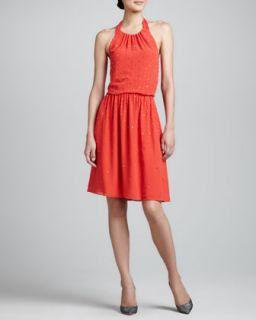 Womens Embellished Halter Dress, Flame   Erin Fetherston   Flame/Tranished (4)