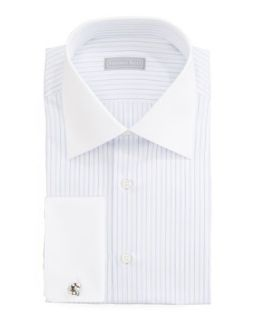 Mens Contrast Collar Striped Dress Shirt, White/Lavender   Stefano Ricci   Wht