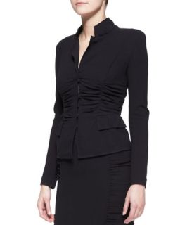 Womens Long Sleeve Crushed Cardigan Jacket, Black   Donna Karan   Black (10)