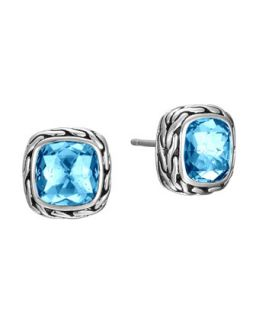 Batu Classic Chain Blue Topaz Stud Earrings   John Hardy   Silver