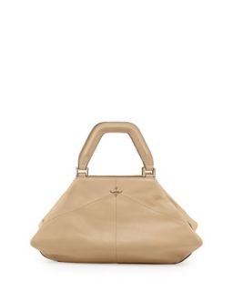 Nouveau Smooth Leather Satchel Bag, Nude   K. Jacques