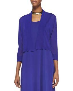 Crinkle Cropped Cardigan, Blue Violet, Womens   Eileen Fisher   Blue violet
