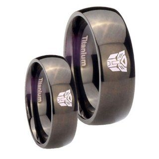 His Her's Titanium Transformers Autobot Black Dome Ring Set Size 4, 10: Jewelry