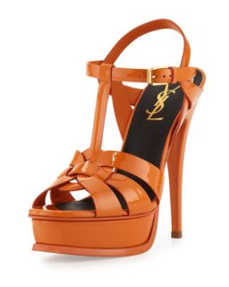 Tribute High Heel Patent Sandal, Orange   Saint Laurent   Orange (36.0B/6.0B)