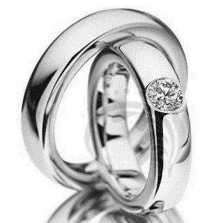 Stylish 14k White Gold His and Hers Matching Wedding rings 0.39 carats 5 mm: Jewelry