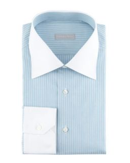 Mens Contrast Collar 3 Row Stripe Dress Shirt, Aqua   Stefano Ricci   Aqua