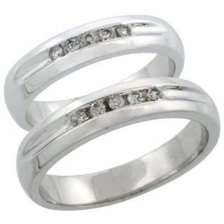 10k White Gold 2 Piece His (4.5mm) & Hers (4.5mm) Diamond Wedding Ring Band Set w/ 0.20 Carat Brilliant Cut Diamonds; Ladies Size 8.5: Jewelry