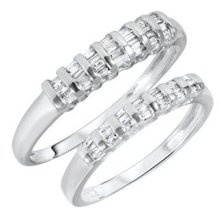 1/2 CT. T.W. Baguette Cut Diamond His And Hers Wedding Rings 14K White Gold   Free Gift Box: MyTrioRings: Jewelry
