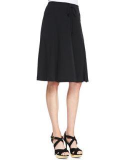 Womens Silk Georgette Gored Knee Skirt, Petite   Eileen Fisher   Black (PM