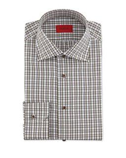 Mens Check Cotton Shirt, Olive/Brown   Isaia   (17 1/2)