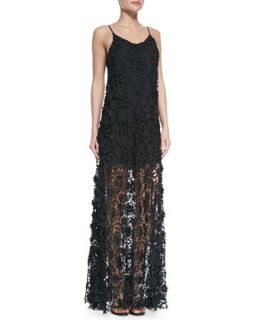 Womens Spaghetti Strap Lace Maxi Dress   Erin by Erin Fetherston   Black (6)