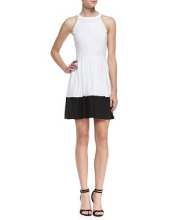 Womens Halter Contrast Hem Dress, Optic White/Black   Ali Ro   Optic