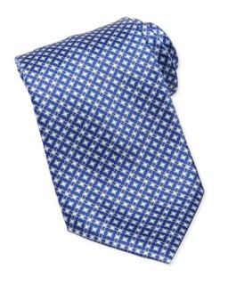 Mens Micro Medallion Silk Tie, Blue   Stefano Ricci   Blue