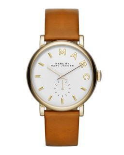 Baker Analog Watch with Leather Strap, Stainless/Tan   MARC by Marc Jacobs   Tan